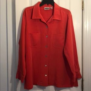 Chico's coral button up blouse.  💯 silk sz 3